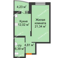 1 комнатная квартира 46,7 м² в ЖК Золотое сечение, дом №1, 2 этап - планировка
