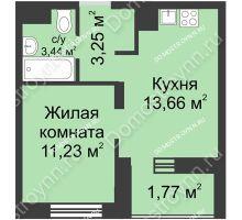1 комнатная квартира 33,35 м² - ЖК Университетский