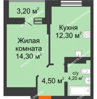 1 комнатная квартира 38,5 м² в ЖК Подкова на Цветочной, дом № 8 - планировка