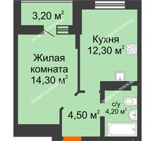 1 комнатная квартира 38,5 м² в ЖК Подкова на Цветочной, дом № 7 - планировка