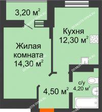 1 комнатная квартира 36,9 м² в ЖК Подкова на Цветочной, дом № 7 - планировка