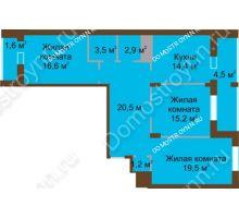 3 комнатная квартира 100,1 м² в ЖК Монолит, дом № 89, корп. 1, 2 - планировка