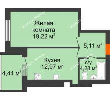 1 комнатная квартира 43,8 м² в ЖК Свобода, дом 1 очередь