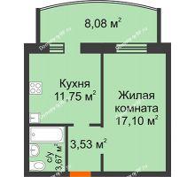 1 комнатная квартира 44,13 м² в ЖК Троицкий, дом Корпус 1 - планировка