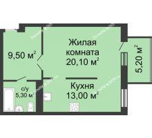 1 комнатная квартира 53,1 м², ЖК Нахичевань - планировка