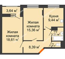 2 комнатная квартира 58,19 м², Жилой дом: ул. Сухопутная - планировка