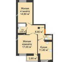 2 комнатная квартира 57,2 м² в ЖК Европа-сити, дом Литер 5 - планировка