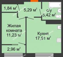 1 комнатная квартира 43,17 м² в ЖК Маленькая страна, дом № 4 - планировка