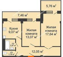2 комнатная квартира 63,19 м² в ЖК Парковый, дом 6 позиция, блок-секция 3 - планировка