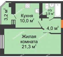1 комнатная квартира 39,6 м² в ЖК Вересаево, дом Литер 5/2 - планировка