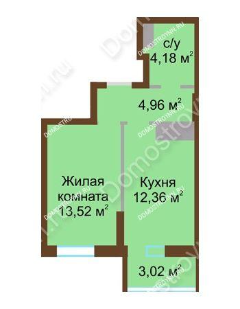 1 комнатная квартира 38,04 м² в ЖК Красная поляна, дом № 8