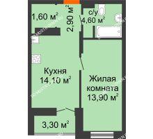 1 комнатная квартира 38,75 м² в ЖК КМ Анкудиновский парк, дом № 16 - планировка