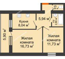 2 комнатная квартира 49,45 м², ЖК Дом у озера - планировка