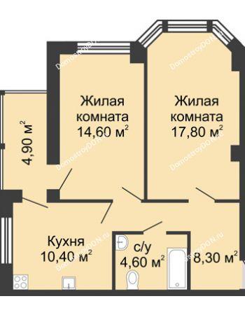2 комнатная квартира 60,6 м² в ЖК Мега, дом № 2