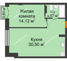 1 комнатная квартира 49,44 м², ЖК Шаляпин - планировка