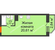 Студия 25,2 м² в ЖК Академический, дом № 15 - планировка