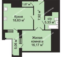 1 комнатная квартира 52,25 м², ЖК Гелиос - планировка