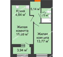 1 комнатная квартира 45,14 м² в ЖК Дом на Набережной, дом № 1 - планировка