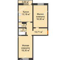 2 комнатная квартира 65,42 м² в ЖК Корабли, дом № 9-1 - планировка
