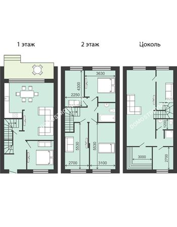 8 комнатная квартира 194 м² в  КП Долина, дом № 15 (194 м2)