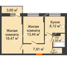 2 комнатная квартира 54,33 м², Жилой дом: ул. Сухопутная - планировка