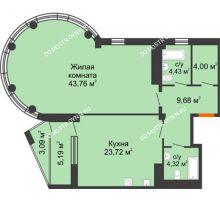 1 комнатная квартира 93,43 м² в ЖК Ренессанс, дом № 1 - планировка