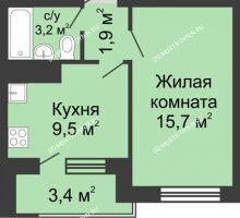 1 комнатная квартира 32 м² в ЖК Окский берег, дом №6, Приокская улица - планировка