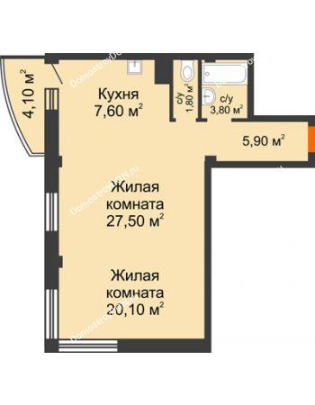 2 комнатная квартира 67,9 м² - ЖК Южная Башня