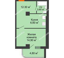 1 комнатная квартира 38,9 м², ЖК Уютный дом на Мечникова - планировка