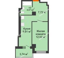 1 комнатная квартира 33,72 м² - ЖК Уютный дом на Мечникова