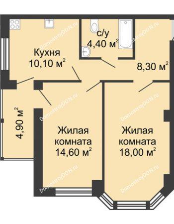 2 комнатная квартира 60,3 м² в ЖК Мега, дом № 2