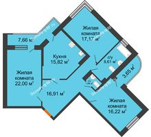 3 комнатная квартира 104,22 м² в ЖК Краснодар Сити, дом Литер 3 - планировка