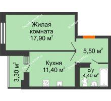 1 комнатная квартира 39 м² в ЖК Вересаево, дом Литер 5/1 - планировка