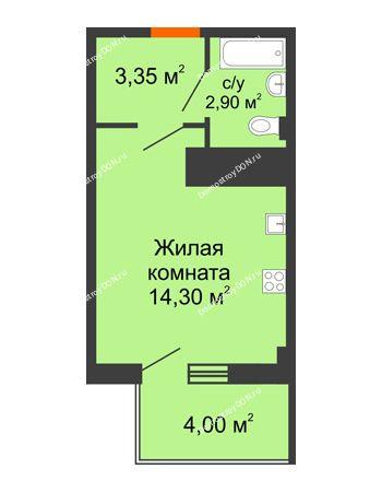 Студия 21,75 м² в ЖК Грин Парк, дом Литер 1