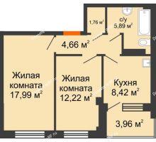 2 комнатная квартира 52,92 м², Жилой дом в 7 мкрн.г.Сосновоборск - планировка