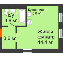 Студия 27,8 м² в Микрорайон Республика, дом ГП-3 - планировка