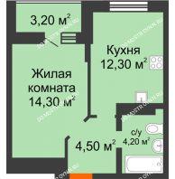 1 комнатная квартира 38,4 м² в ЖК Подкова на Цветочной, дом № 9 - планировка