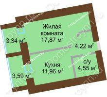 1 комнатная квартира 42,065 м² в ЖК Солнечный город, дом на участке № 214