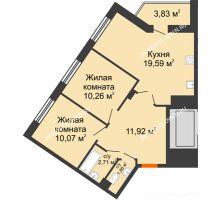 2 комнатная квартира 60,24 м² - ЖК Пушкин
