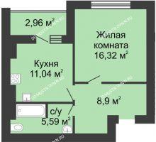 1 комнатная квартира 43,33 м² в ЖК Парк Горького, дом 62/2, №4