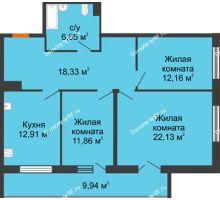 3 комнатная квартира 88,4 м² в ЖК Королев, дом №1 (1,2, подъезд), 1-ая очередь - планировка