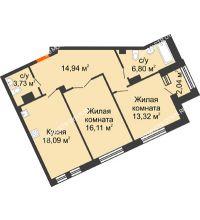 2 комнатная квартира 74,01 м², Дом премиум-класса Коллекция - планировка