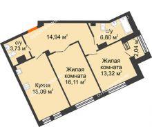 2 комнатная квартира 72,99 м², Дом премиум-класса Коллекция - планировка