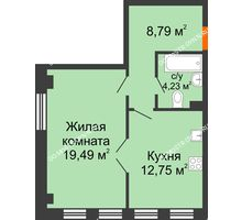 1 комнатная квартира 45,26 м² в ЖК Дом на Провиантской, дом № 12 - планировка