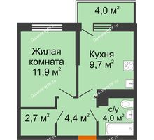 1 комнатная квартира 33,9 м² в ЖК Отражение, дом Литер 2.2 - планировка