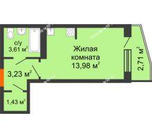 Студия 23,6 м², ЖК 9 Ярдов - планировка