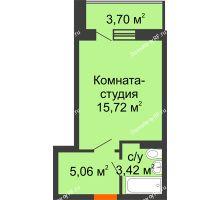 Студия 26,05 м² в ЖК Мандарин, дом 1 позиция 1,2 секция - планировка