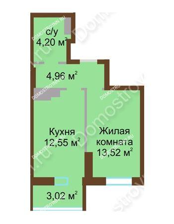 1 комнатная квартира 38,25 м² в ЖК Красная поляна, дом № 8