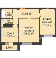 2 комнатная квартира 64,57 м² в ЖК Облака, дом № 2 - планировка
