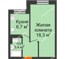 1 комнатная квартира 33,5 м² в ЖК Жюль Верн, дом № 1 корпус 2